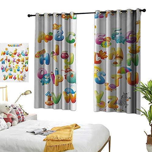 (Bedroom Curtain W63 x L72 Educational,Cheerful Cartoon Fun Alphabet Design for Kids Cute Font Preschool Kindergarten,Multicolor Living Room Dining Room Kids Youth Room Window Drapes)