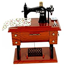 Avtion Vintage Mini Sewing Machine Style Plastic Music Box Table Desk Decoration Toy Gift for Kid Children (Mode 3)