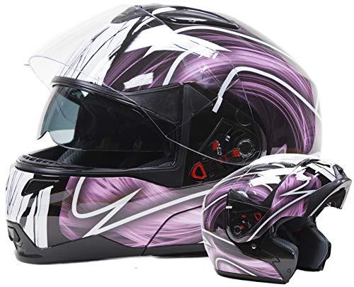 Typhoon Women's Modular Full Face Motorcycle Helmet - Street Bike Flip-Up Dual Visor DOT (Pink and White -