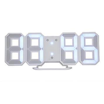 Reloj de Alarma de Pared Digital 3D LED con función de repetición de Nivel de Brillo 3 Función de Memoria 12 / 24H Pantalla(Blanco): Amazon.es: Electrónica