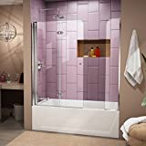 DreamLine SHDR-3636580-01 Aqua Fold 36-Inch Frameless Hinged Tub Door, Chrome Finish