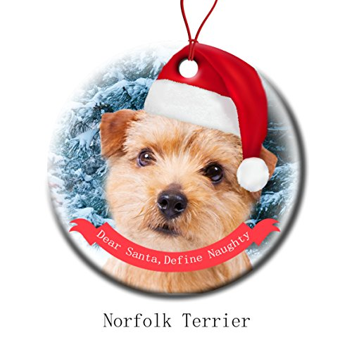 (Xmas Ornaments Ceramic Flat Round Snowflakes Santa Dog Norfolk Terrier Custom Tree Branch Hanging Decoration for Holiday Season)