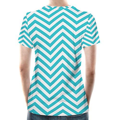 Chevron Stripes Women Cotton Blend T-Shirt Damen XS-3XL Teal zL96dmz
