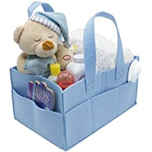 Sorbus Baby Diaper Caddy Organizer | Nursery Storage Bin for Diapers, Wipes & Toys | Portable Car Storage Basket | Changing Table Organizer | Great Baby Shower Gift Basket (Blue)