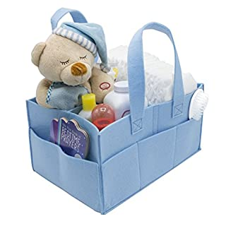 Sorbus Baby Diaper Caddy Organizer - Nursery Essentials Storage Bin for Diapers, Wipes & Toys, Newborn & Infant Portable Car Travel Storage Bag, Changing Table Organizer, Great Baby Shower Gift (Blue)