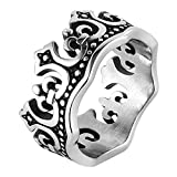 HZMAN Men's Vintage Royal King Crown Ring Stainless Steel for Wedding Band Promise (11)