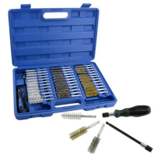 38pc Wire Brush Set 1/4'' Hex Shank Long Extension Stainless Steel Brass Nylon by Wire Brushes