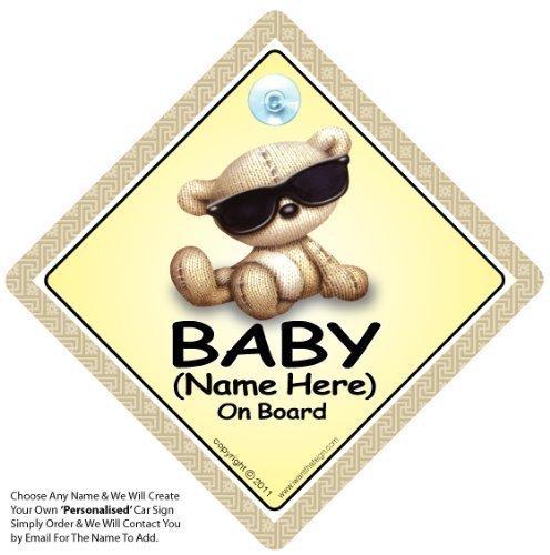 Baby On Board, teintes, personnalisée de Baby On Board We'll, ajouter un nom pour créer votre propre Plaque de voiture à personnaliser avec inscription Baby On Board sur Pare-brise, personnalisée de Baby On Board, personnalis&ea