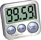eTradewinds Digital Kitchen Timer Model eT-26 (Silver) Stainless Steel, Strong Magnetic Back, Kickstand, Loud Alarm, Large Display, Auto Memory, Auto Shut-Off