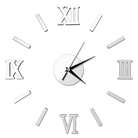 Pawaca grandes 3d DIY Reloj de pared Frameless Números Romanos Reloj Kit Espejo pared adhesivo acrílico