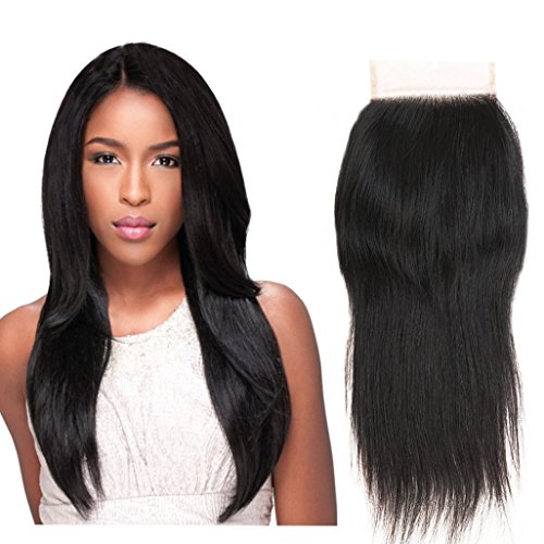 4x4 Closure Free Part Straight Human Hair Bleached Knots with Baby Hair Lace Closure 100% Unprocessed Brazilian Virgin Human Hair Natural Color (12