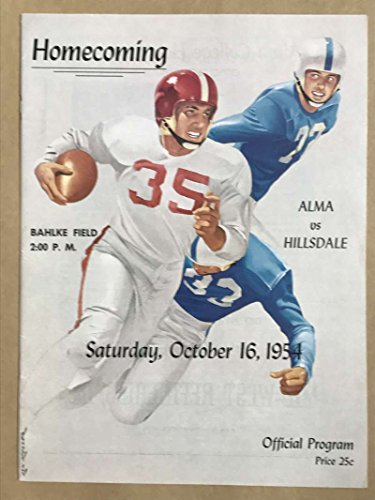 HILLSDALE COLLEGE ALMA COLLEGE FOOTBALL PROGRAMS 1954 - Shops Hillsdale