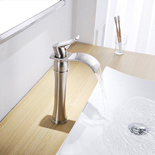 BWE Waterfall Spout Brushed Nickel Bathroom Vessel Sink