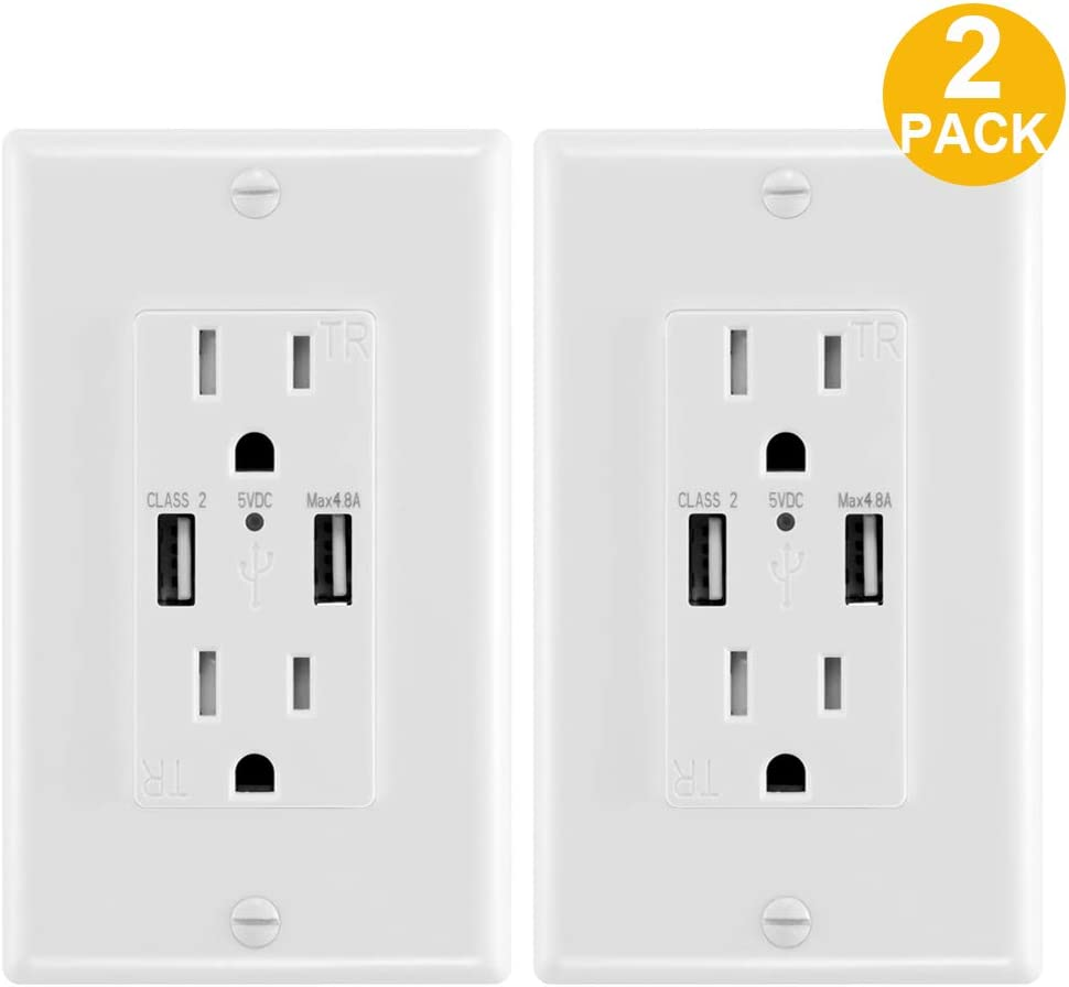 4.8A USB Wall Outlet Fast Charge - Dual High-Speed Charger Electrical Outlets - ETL Listed Duplex 15A Tamper Resistant Socket USB Outlets Receptacle - Wall Plate Included