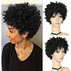 WIGNEE 30% Human Hair Mixed 70% Synthetic Afro Curly Short Style Wigs (1B)