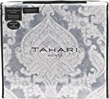 Tahari Home Luxury Bohemian Duvet Cover Luxury Boho Style Medallion Print in Blue Grey 3 Piece Bedding Set (Queen, Mist Gray)
