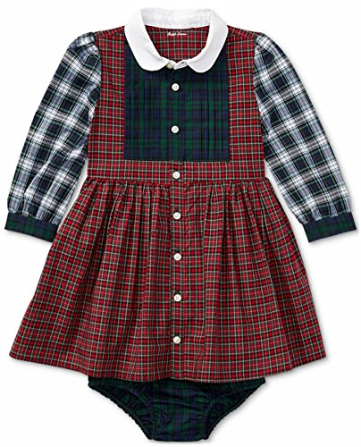 RALPH LAUREN Baby Girls Contrast Cotton Dress, Baby Girls