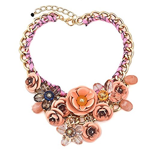 HoBST Pink New Flower Crystal Floral Statement Necklace Choker Chunky Pendant