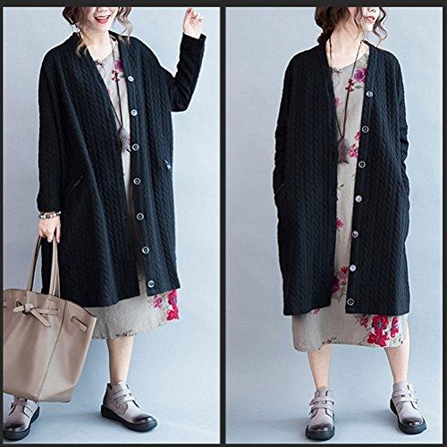Zhuhaitf Women's Elegant Plus Large Long Sleeve Solid Button Down Cardigans Casuale Oversized Long Coat