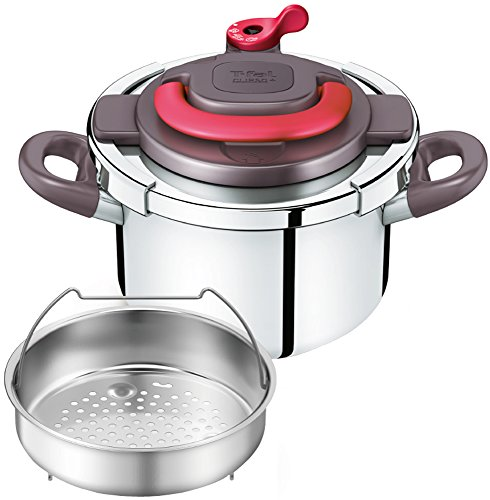 T-fal pressure cooker ''Kuripuso arch'' one-touch opening and closing IH corresponding paprika Red 4L P4360432 by T-fal