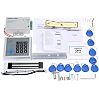 KKmoon Access Control Management System Kit Password Host Controller + 180Kg Electric Magnetic Lock + Door Switch + Power Supply + 10pcs ID Key Fobs
