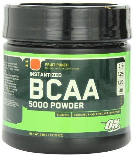 Optimum Nutrition Instantized BCAA Powder, Fruit Punch, 5000 mg, 380 Gram (Pack of 2)