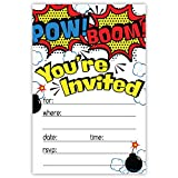 Superhero Birthday Party Invitations (20 Count) With Envelopes