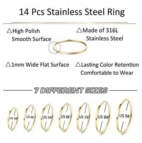 LOYALLOOK 14Pcs Thin Stacking Rings Stainless Steel 1MM Knuckle Midi Ring for Women Girls Silver-Tone Gold-Tone,Size 3-9 by LOYALLOOK (Image #2)