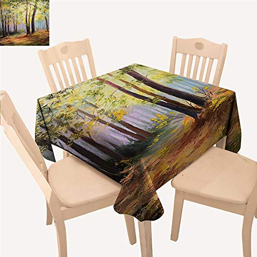 """Angoueleven Country Table Cover Image of Spring Landscape in Forest with Falling Leaf and Various Trees Mod Print Small Square Tablecloth Brown Green W 70"""" x L 70"""""""