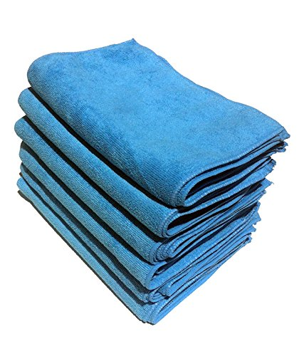 [36 Pack] Microfiber Cleaning Cloths - 100% Microfiber - Blue Color - Reusable, Washable, and Eco-friendly! (36)