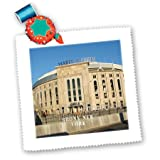 new york yankee cotton fabric - 3dRose qs_100809_6 Yankee Stadium Built in 1923 Bronx New York Quilt Square, 16 by 16-Inch