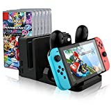 IVSO Nintendo Switch Joy Con Charger Dock,Multi-functional Charging Dock for Nintendo Switch Console with Joy-Con, Pro Controller, Dock and Game Card Storage ( Black )
