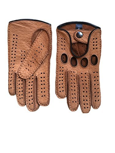 Men's Peccary Driving Gloves Color Cork by Hungant (7.5, Cork) by Hungant