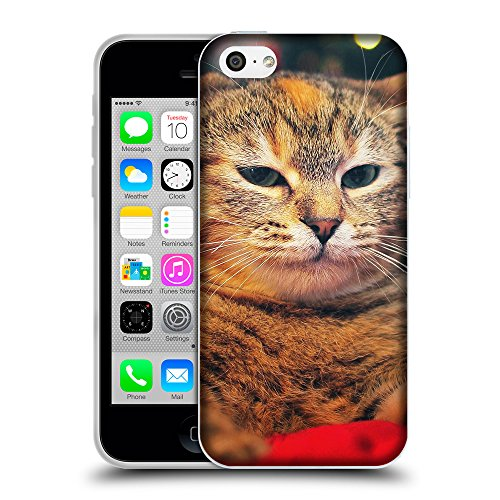 Just Phone Cases Coque de Protection TPU Silicone Case pour // V00004205 rougechat endormi couché // Apple iPhone 5C