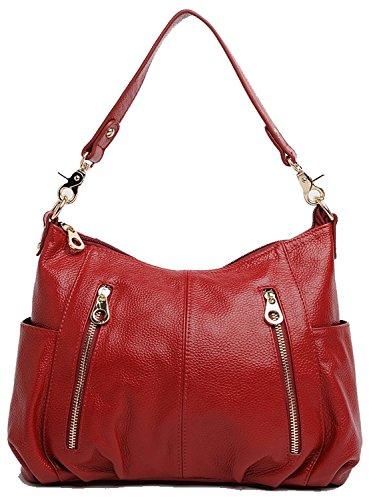 Women's new fashion Satchel Handbag Genuine Leather shoulder bag(red) - 1