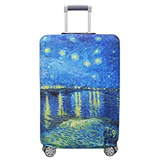 "TRAVELKIN Thickened Luggage Cover ,Washable Travel Gear Cover,18/24/28/32 Inch Suitcase Spandex Protective Cover (L(25""-28""luggage), Starry Night Over the Rhone)"