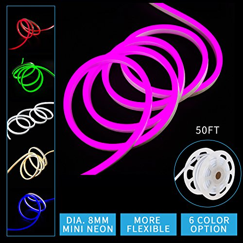 Led Mini Neon Lights, Shine Decor dimmable pink Rope Lights, 8MM Thickness, Update 2835 120Led/M, 110V, Included All Necessary Accessories, Flex Durable Super Bright For Outdoor Indoor Decor Or Comme by shine decor