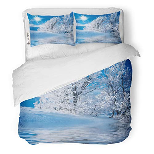 Semtomn Decor Duvet Cover Set Twin Size Blue Scene Winter in The Mountains Frozen Lake Sunny Chill 3 Piece Brushed Microfiber Fabric Print Bedding Set Cover