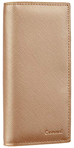 Ladies Wallet Checkbook Holder - Casmonal Genuine Leather Checkbook Cover For Men & Women Checkbook Holder Wallet RFID Blocking(champagne gold)