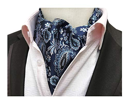 Tie Mens Silk Scarf - Men Boys Novelty Cravat Self Tie Paisley Jacquard Woven Floral Luxury Ascot Accessory Necktie Gift for Husband Navy Blue