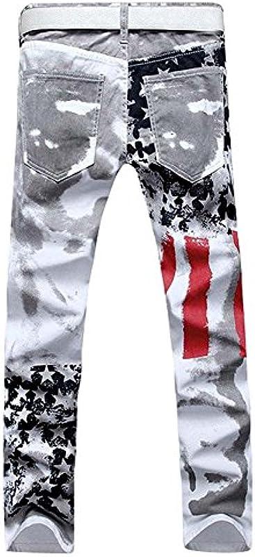huateng moda męska American Flag Print Denim spodnie dżinsy: Odzież