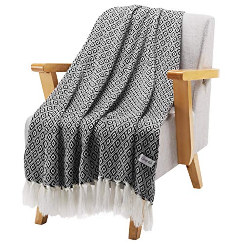 LANGRIA Geometrical Pattern Wearable Throw Blanket with Tassels Knitted Soft Warm Shawl Lightweight Cozy Wrap for Sofa Coach Bed All-Seasons Blanket Easy Care Machine Washable (50