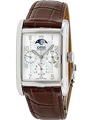 Oris Rectangular Complication Silver Dial Leather Mens Watch 582-7694-4061LS