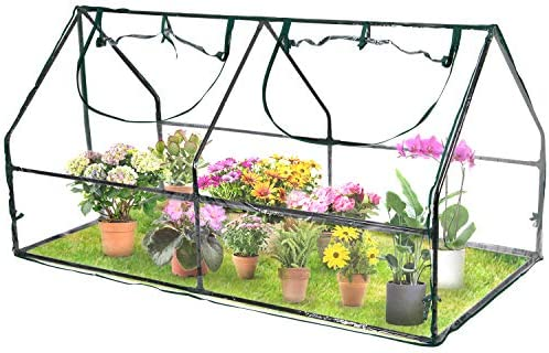 Birtech Portable Mini Greenhouse, Plant Green House Outdoor with Waterproof UV Protected Cover and Zipper Door for Garden Bed, 71 L x 36 W x 36 H