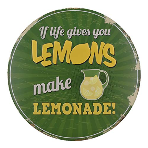 wuliLINLDecorative Metal Tin Poster If Life Give You Lemon Make Lemonade, American Retro Metal Paintings Hanging Metal Poster (B)]()