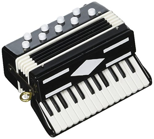 Accordian Black Musical Instrument Ornament 3 inches