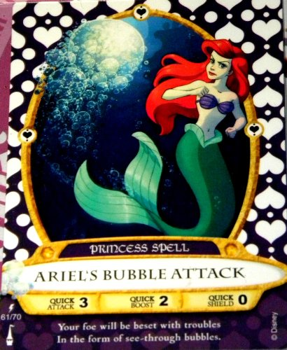 Disney Sorcerers Mask of the Magic Kingdom Sotmk Game Wdw Walt Disney World Exclusive Game Lightening Card # 61 Ariel's Bubble Attack Rare Princess Spell Map & Mickey Stickers (Ariel Bubble)