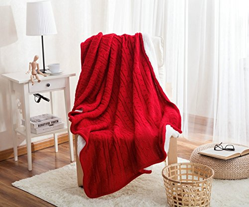 LakeMono Eco-friendly Crochet Cable Blanket Super Soft Warm Knitted Throw Cover Bed Quilt Rug for Living Room/Car/Bedroom/Sofa/Bed/Couch/Office Adult and Kids Resting Relaxing (47×70 Inches, (Black Manta Halloween Costume)
