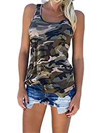 YJWAN Womens Camouflage Casual T Shirt Military Camo Sleeveless Tanks Top Vest