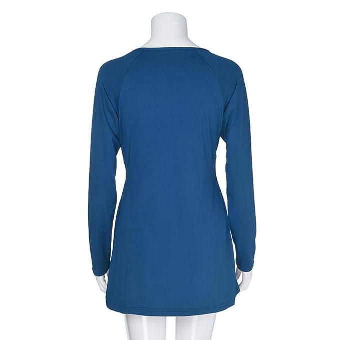 JiaMeng Las Mujeres Blusas de la Blusa de la Llamarada de la Manga Larga del Cuello en v Profundo Atractivo del Color sšLido Camisas Tapas: Amazon.es: Ropa ...